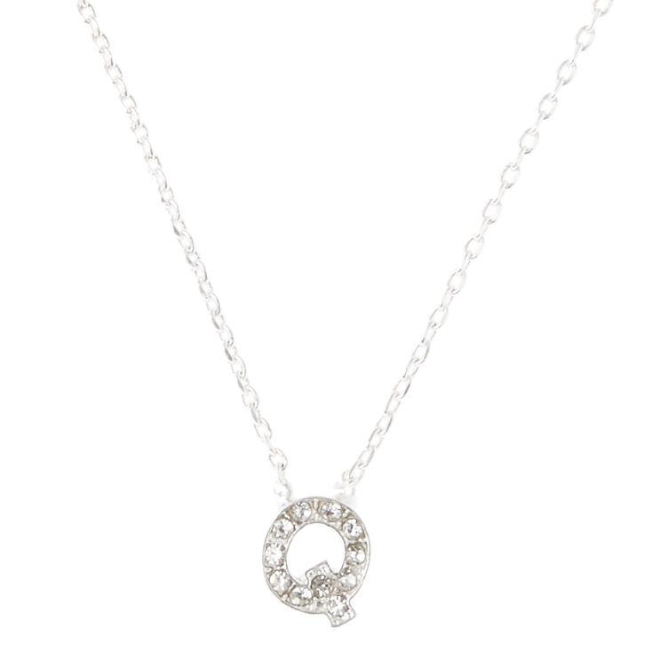 Q Pendant Initial Necklace,