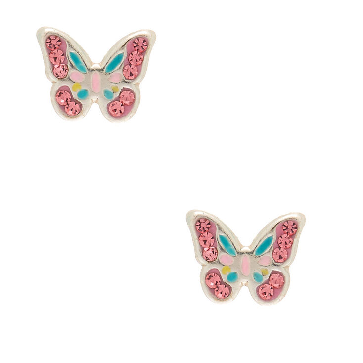 Sterling Silver Pastel Butterfly Stud Earrings,