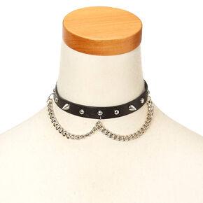 Black Faux Leather & Stud Choker Necklace,