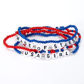 USA Girl Beaded Stretch Bracelets - 5 Pack,