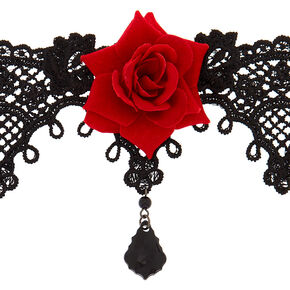 Lace Floral Choker Necklace - Black,