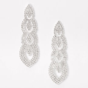 "Silver 2.5"" Rhinestone Regal Drop Earrings,"