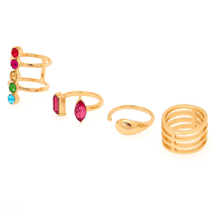 Gold Rainbow Gem Ring Set - 4 Pack,
