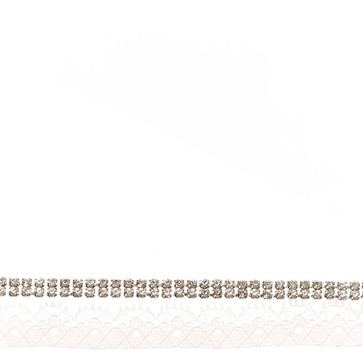 White Lace & Crystal Choker,