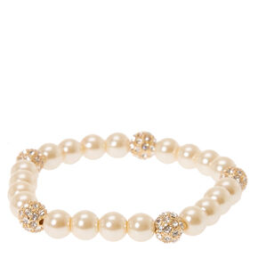 Gold Pearl & Fireball Stretch Bracelet,