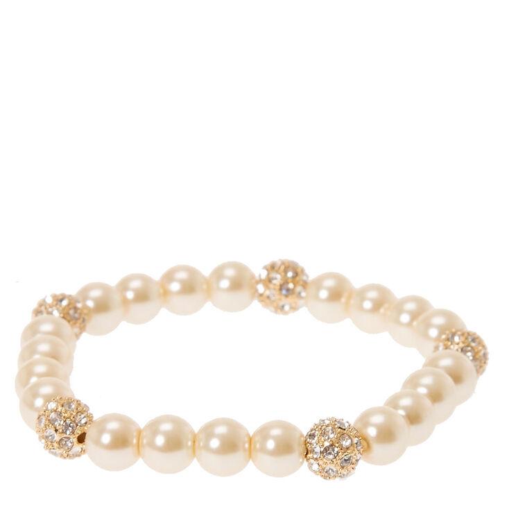 Gold Pearl & Fireball Stretch Bracelet,