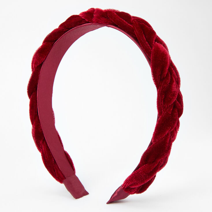 Braided Velvet Headband - Burgundy,