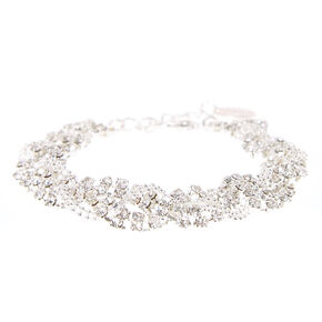 Silver Rhinestone Braided Statement Bracelet,