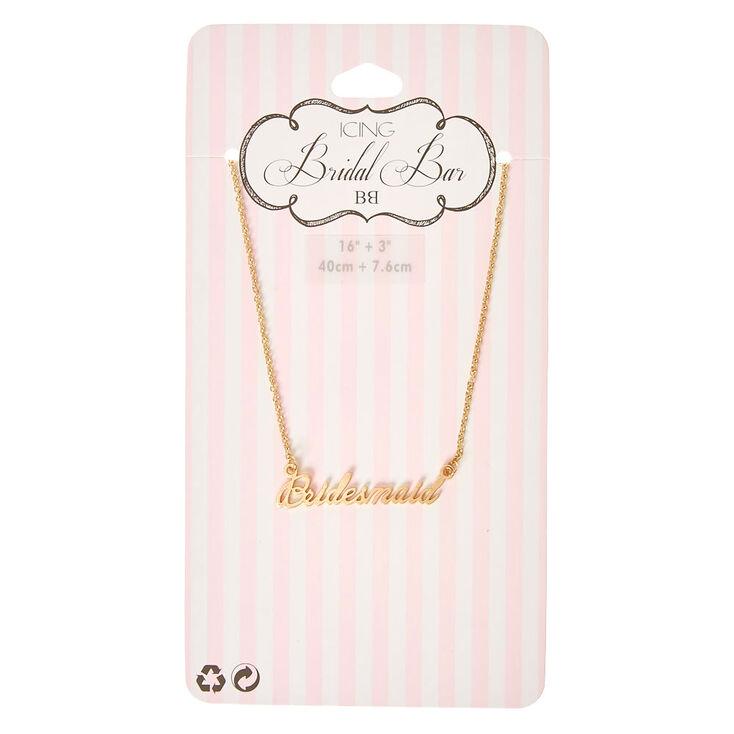 Gold-Tone BRIDESMAID Script Necklace,