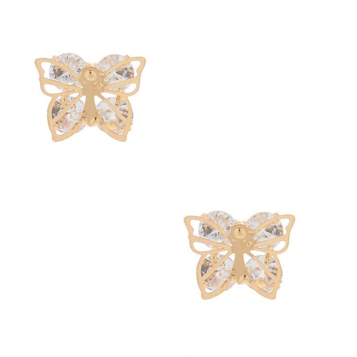 Gold Cubic Zirconia Butterfly Stud Earrings,