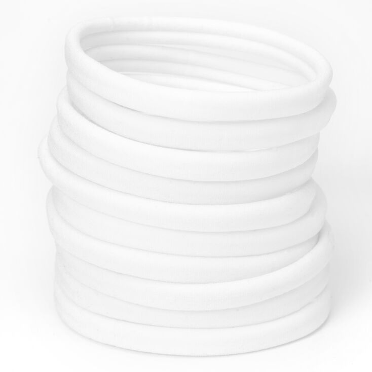 Rolled Hair Ties - White, 10 Pack,