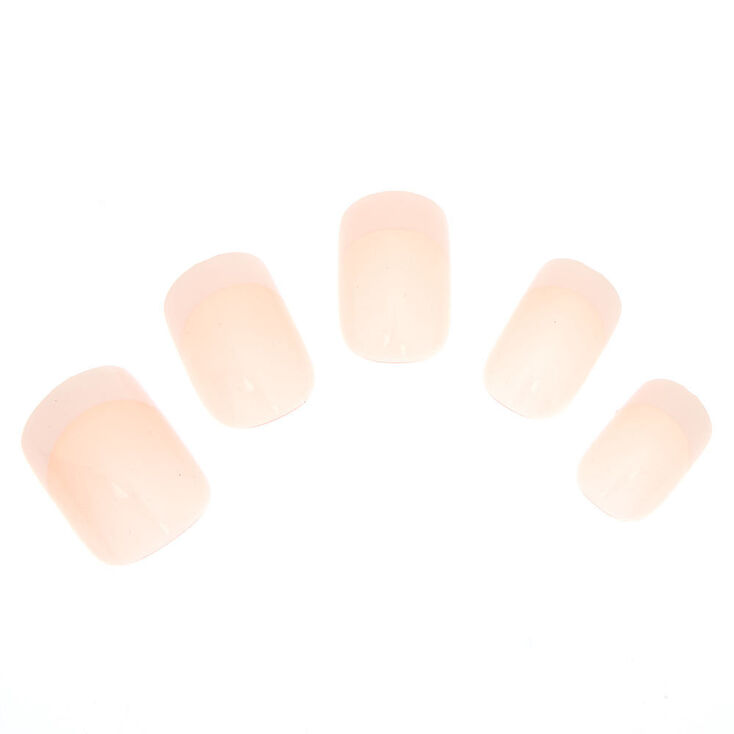 French Manicure Square Faux Nail Set - Pink, 24 Pack,