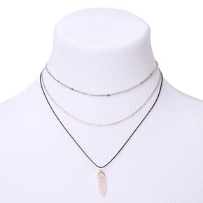 Healing Stone Multi Strand Necklace - Light Pink,