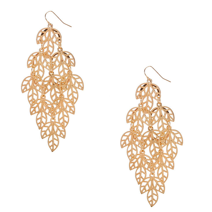 Gold Filigree Leaf Drop Earrings,