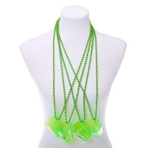 Irish Shot Glass Beaded Necklaces - Green, 4 Pack,