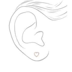 Sterling Silver Cubic Zirconia Heart Stud Earrings,