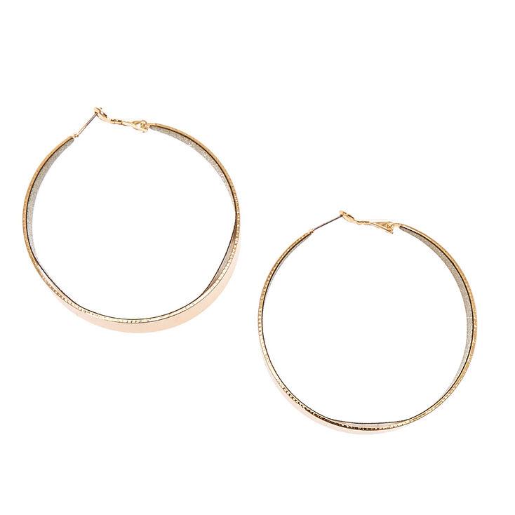 Gold Tone & Silver Glitter Wide Bottom Hoop Earrings,