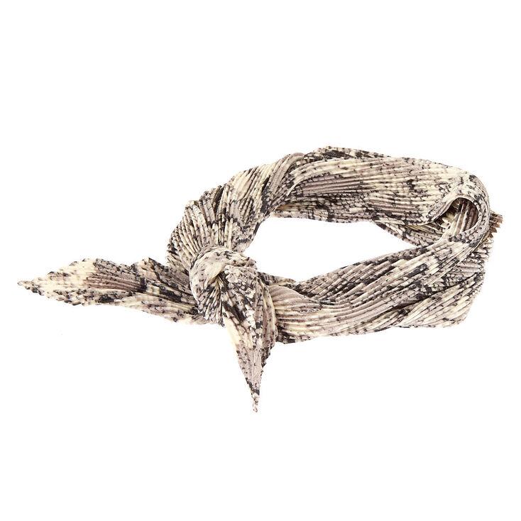 Pleated Snakeskin Print Bandana Headwrap,