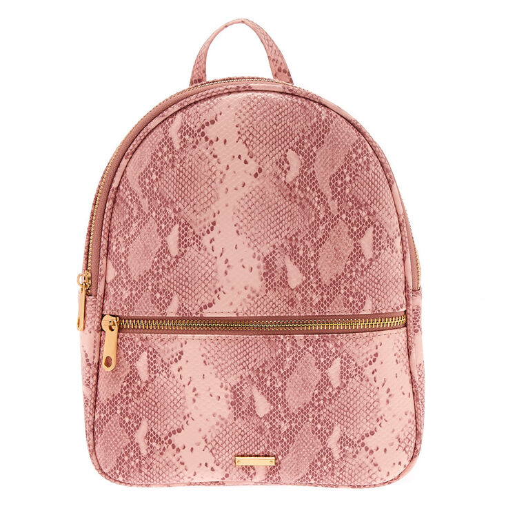 Snakeskin Midi Backpack - Pink,