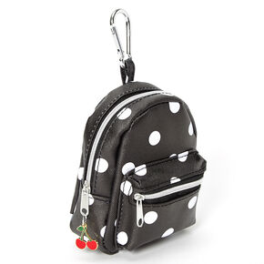 Polka Dot Mini Backpack Keychain - Black,