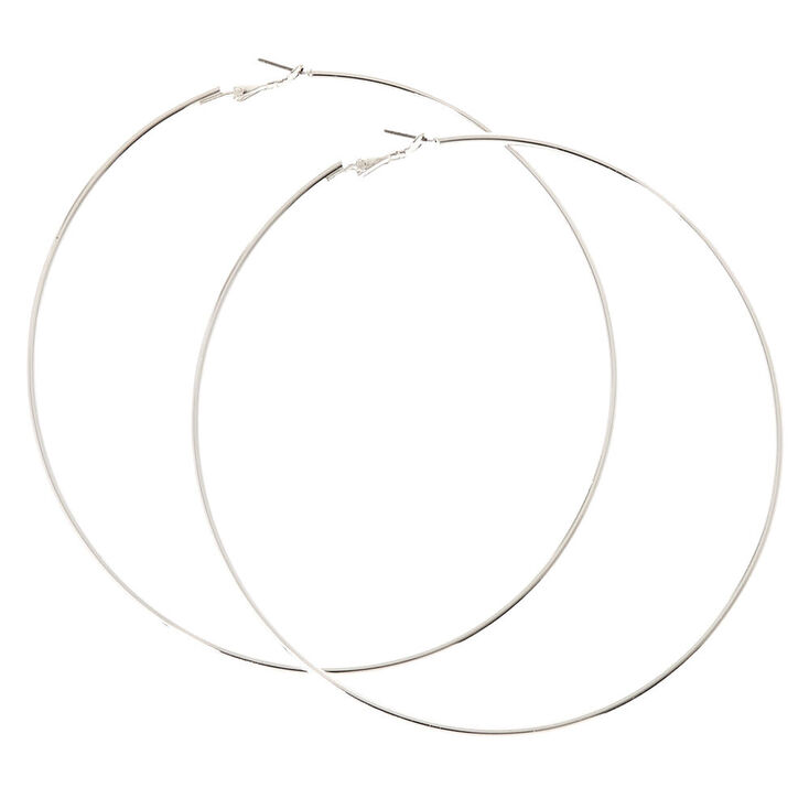 120MM Silver Tone Skinny Hoop Earrings,