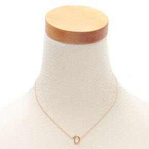 Gold Stone Initial Pendant Necklace - D,