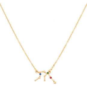 Gold Zodiac Constellation Pendant Necklace - Aquarius,