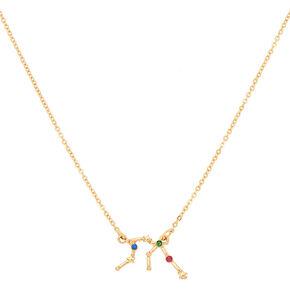 Gold Zodiac Constellation Pendant Necklace - Aquarius,