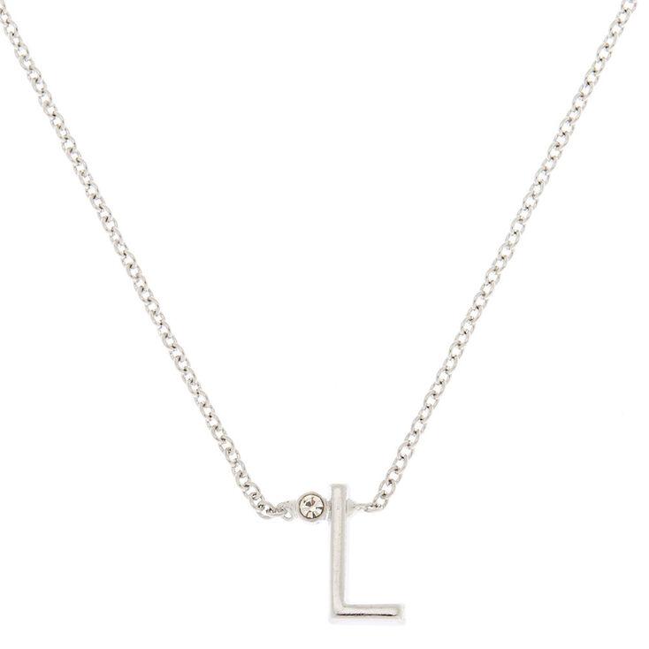 Silver Stone Initial Pendant Necklace - L,
