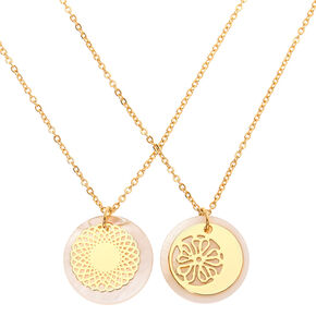 Gold Filigree Shine Pendant Necklaces - 2 Pack,