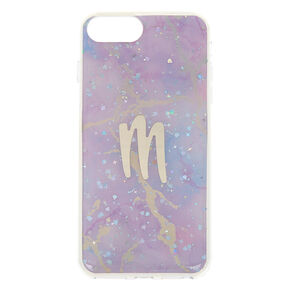 Lilac Marble Glitter M Initial Phone Case - Fits iPhone 6/7/8 Plus,