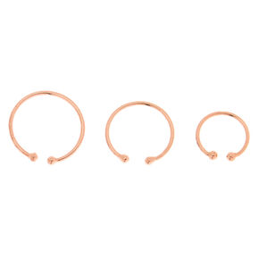 Sterling Silver Rose Gold Faux Hoop Nose Ring - 3 Pack,