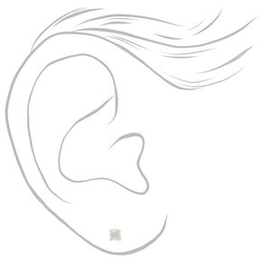 Sterling Silver 3MM Cubic Zirconia Stud Earrings,