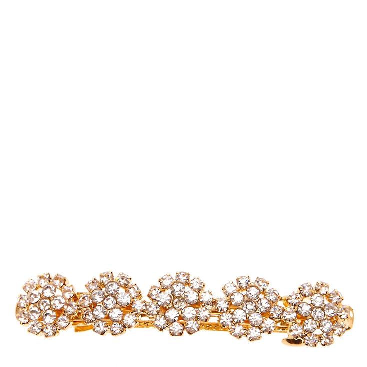 Gold Tone Crystal Flower Hair Clip,