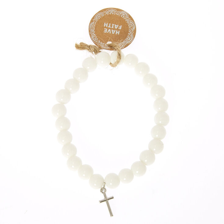 Beaded Have Faith Stretch Bracelet - White,