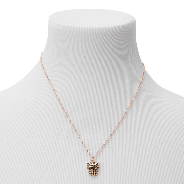 Gold Leopard Pendant Necklace,