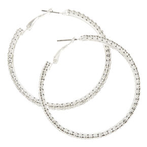 Silver Tone Triple Row Faux Crystal Hoop Earrings,