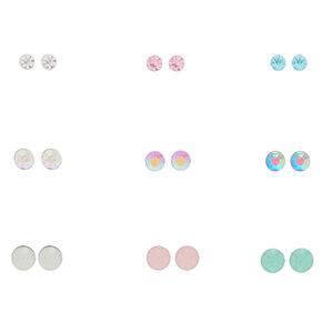 9 Pack Multi-Colored Crystal Stud Earrings,