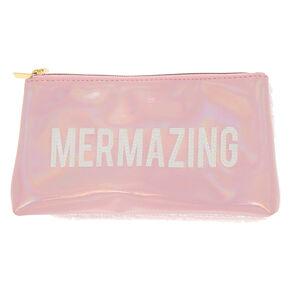 Holographic Reversible Sequin Mermazing Fold Back Makeup Bag - Pink,