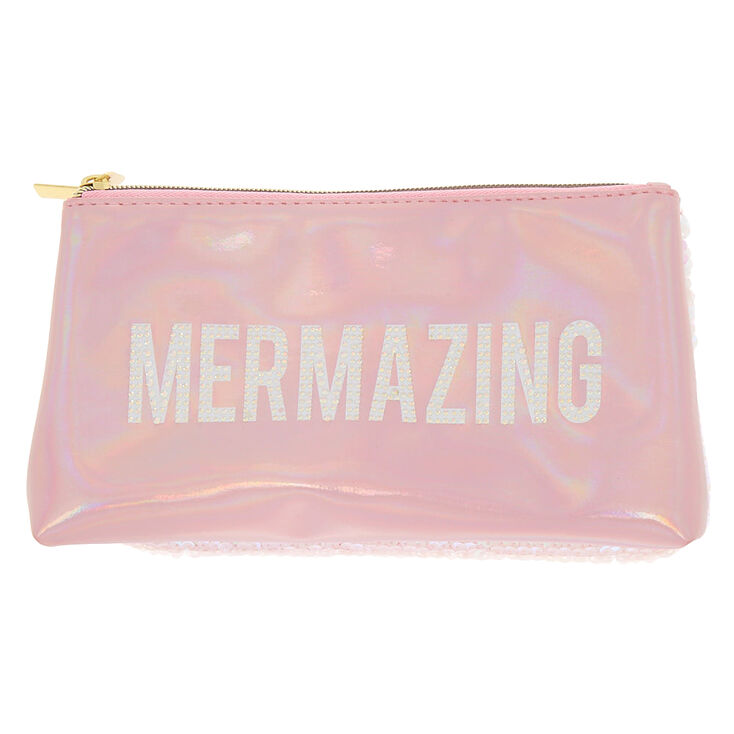 Holographic Reversible Sequin Mermazing Fold Back Makeup Bag - Pink,