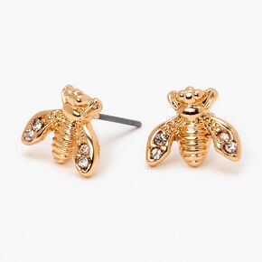 Gold Embellished Bee Stud Earrings,