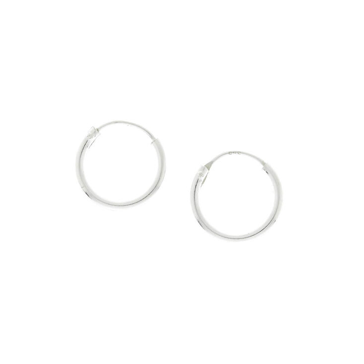 925 Sterling Silver 10MM Hoop Earrings,