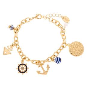 Gold Nautical Charm Bracelet,