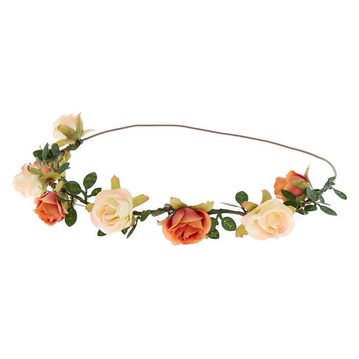 Mini Rose Flower Crown Headwrap - Ivory,