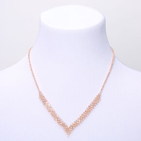 Rose Gold Rhinestone Chevron Statement Necklace,