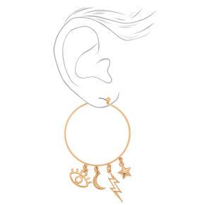 Gold 40MM Eye Charm Hoop Earrings,