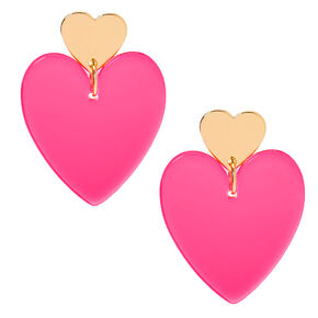 "Gold 2"" Neon Double Heart Drop Earrings - Pink,"
