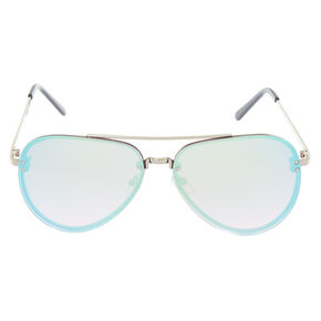 Metallic Rimless Aviator Sunglasses - Blue,