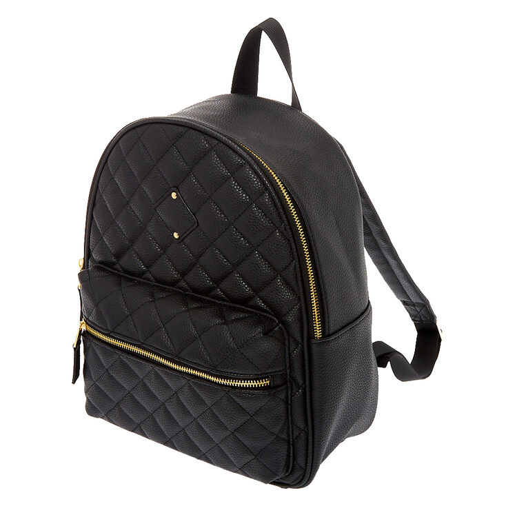 Quilted Medium Backpack - Black,
