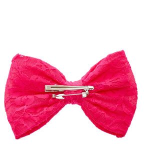Hot Pink Lace Mesh Bow Hair Clip,